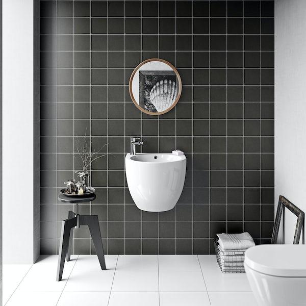British Ceramic Tile Patchwork plain dark grey matt tile 142mm x 142mm