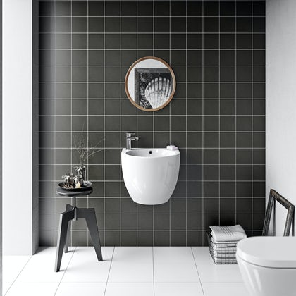 British Ceramic Tile Patchwork plain dark grey matt tile 142mm x 142mm