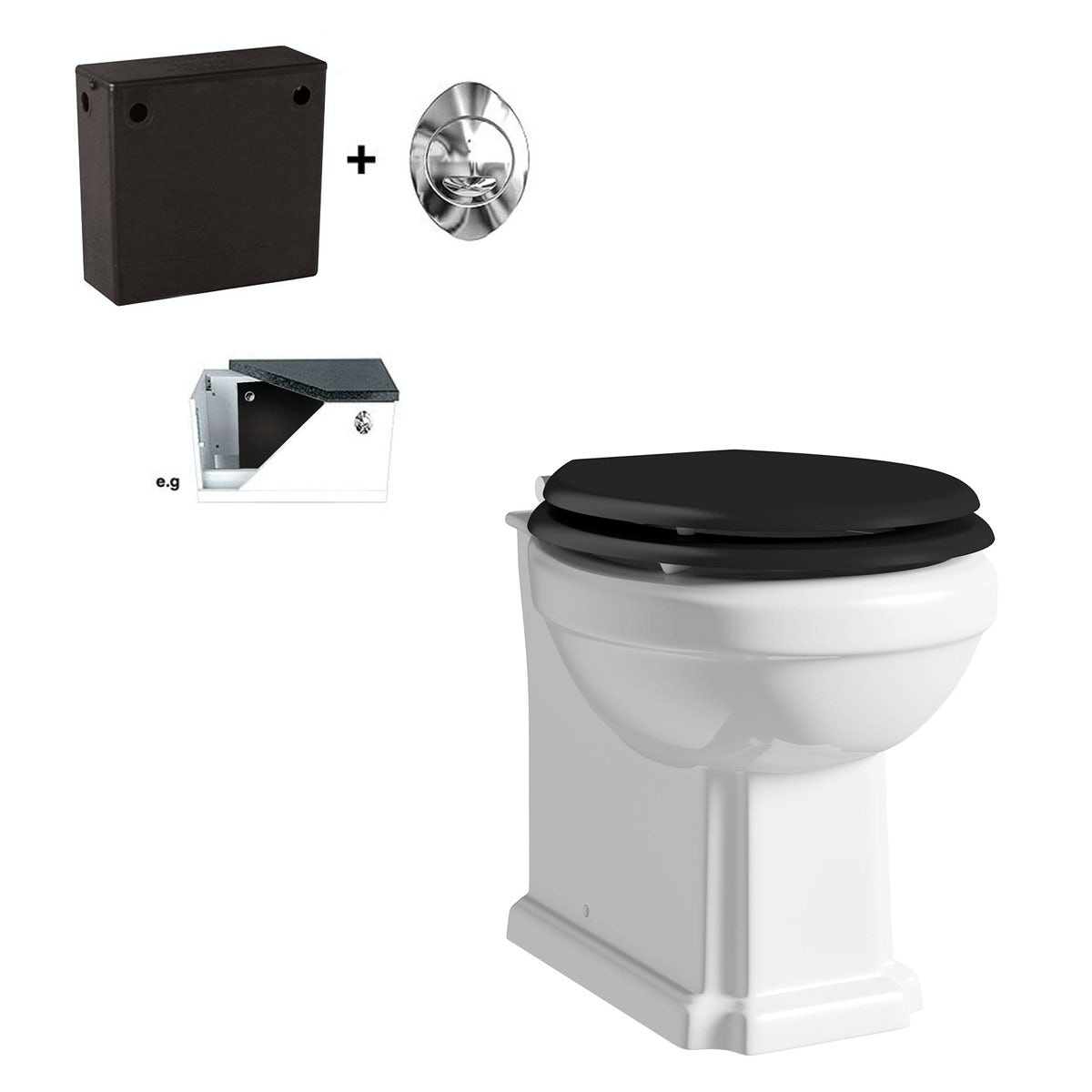 white toilet with black seat. Camberley back to wall toilet with black soft close seat and concealed The Bath Co