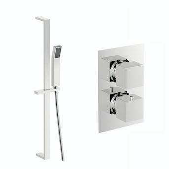 Cubik Thermostatic Twin Valve and Riser Rail Set