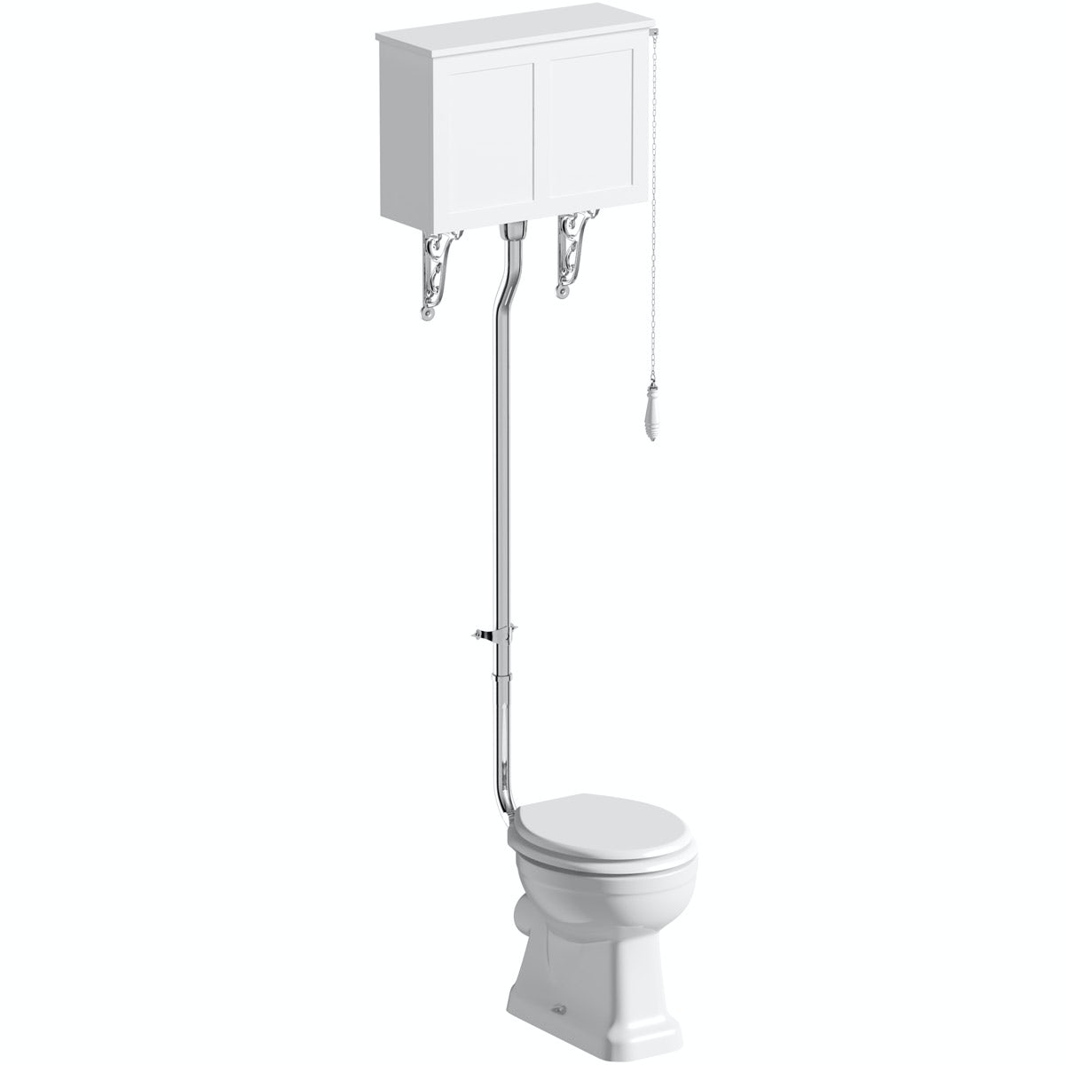 The Bath Co. Camberley high level toilet with white toilet box and seat with pan connector