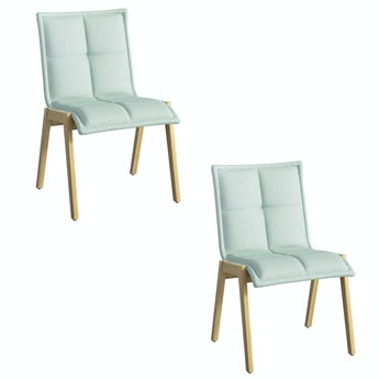 Hadley oak and light cyan pair of dining chairs
