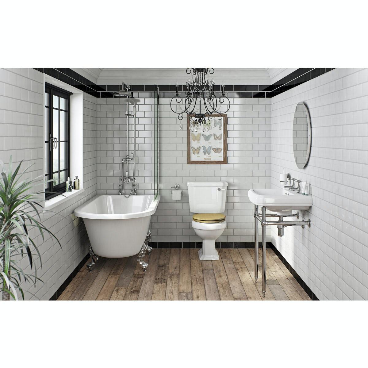 The Bath Co. Dulwich oak bathroom suite with freestanding shower bath