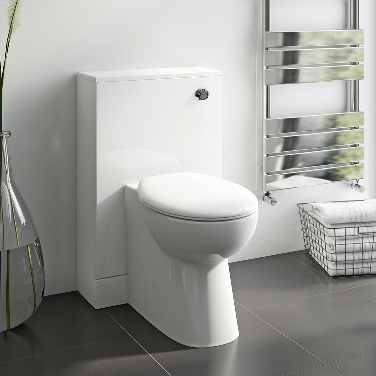Chamonix back to wall unit with Orchard Derwent white slimline back to wall unit and Clarity toilet with seatback to wall toilet