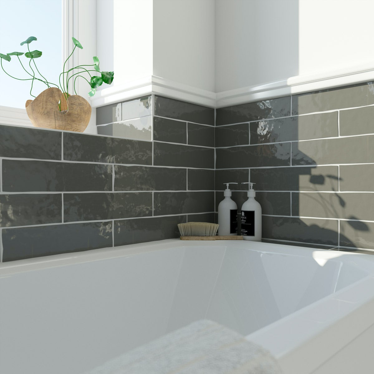 Laura Ashley Artisan charcoal grey gloss wall tile 75mm x 300mm