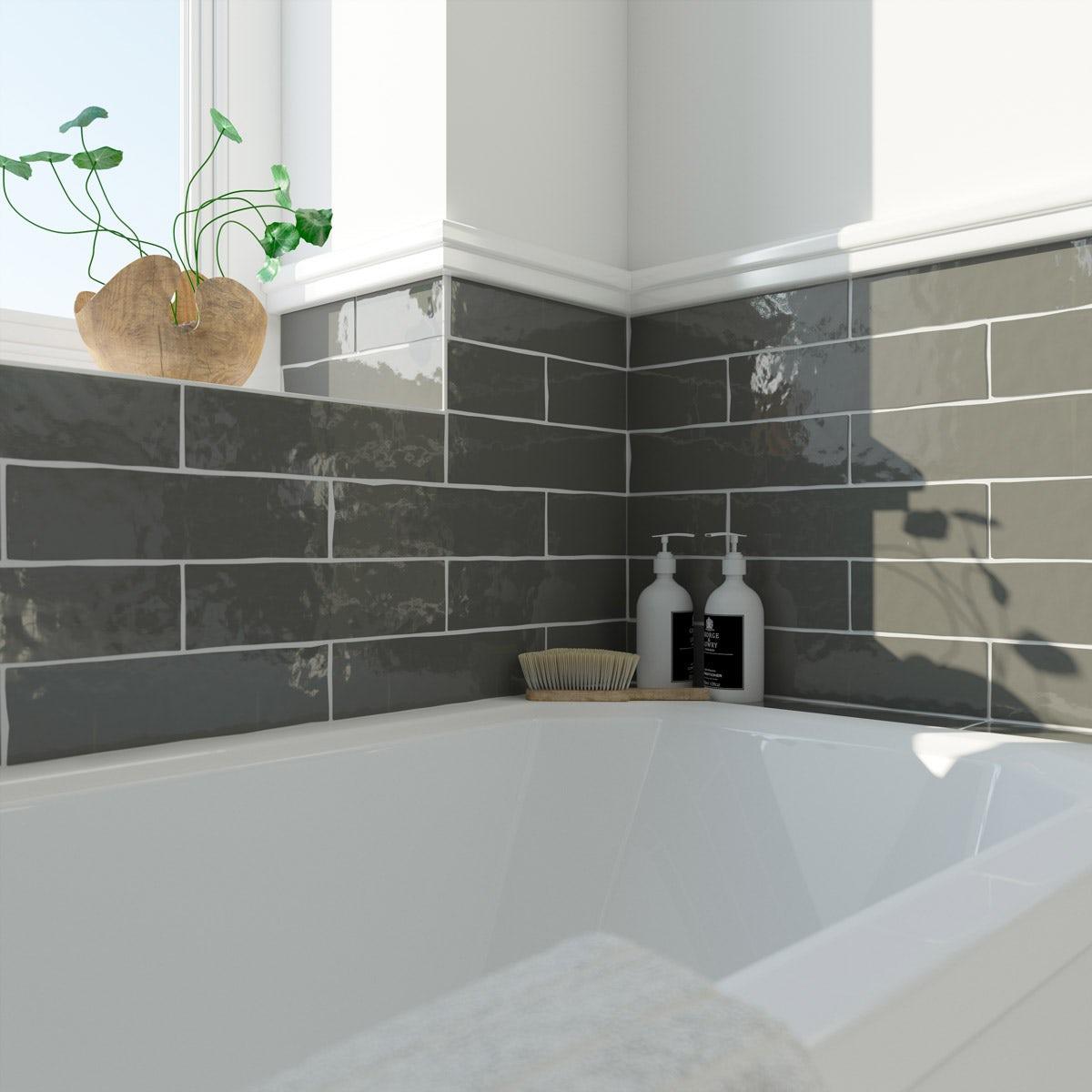 Charcoal grey bathroom tiles - Click To Zoom