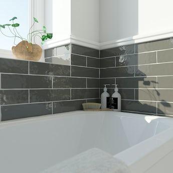 Laura Ashley Artisan charcoal grey gloss wall tile 75mm x 300mm