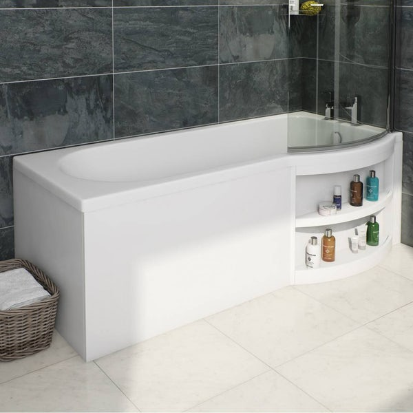 MySpace Water Saving P Shape Shower Bath Right Hand with Storage Panel & 6mm Screen