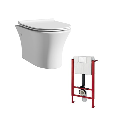 Mode Hardy rimless wall hung toilet with slimline soft close seat and wall mounting frame