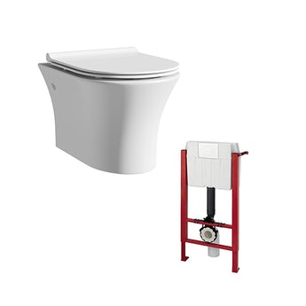 Mode Hardy rimless wall hung toilet inc slimline soft close seat and wall mounting frame
