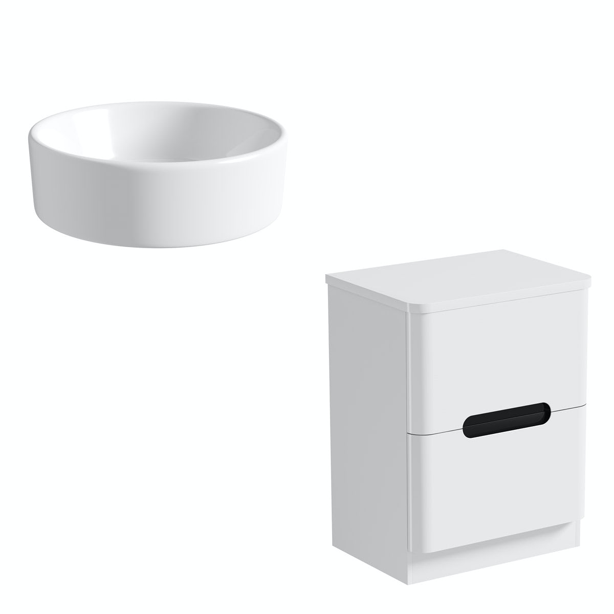 Mode Ellis essen countertop drawer unit 600mm with Calhoun basin