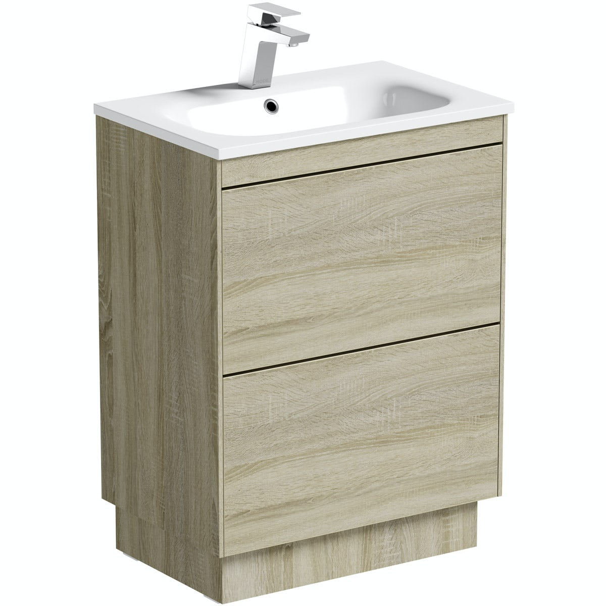 Mode Austin oak vanity unit and stone basin 600mm