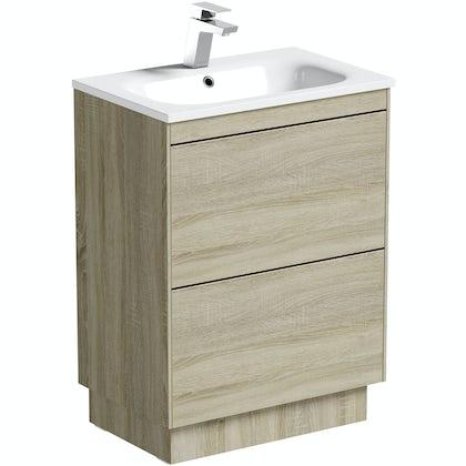 Mode Austin oak vanity unit and stone basin 600mm