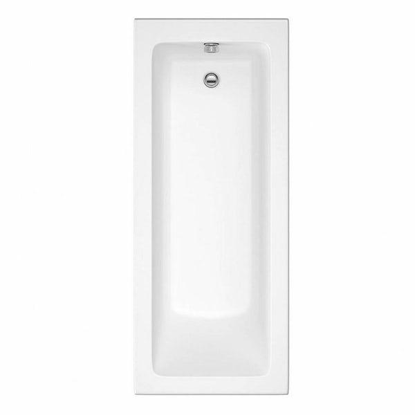 Eden white vanity bathroom set with straight bath