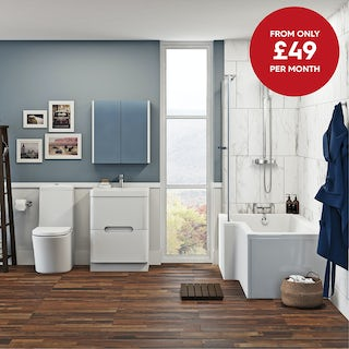 Mode Arte left hand shower bath 1700 x 850 suite with Ellis white floor drawer unit