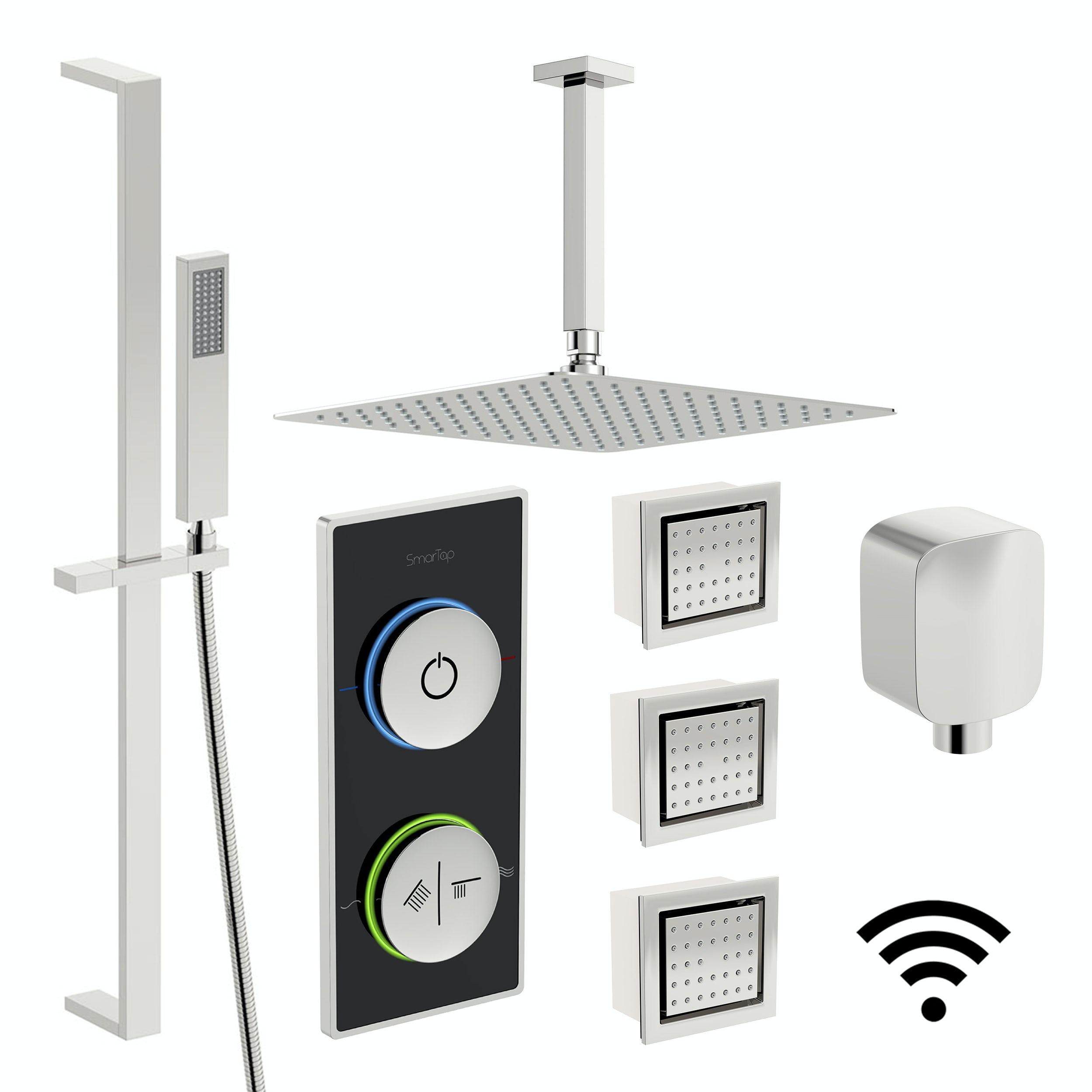 SmarTap black smart shower system with complete square ceiling shower set