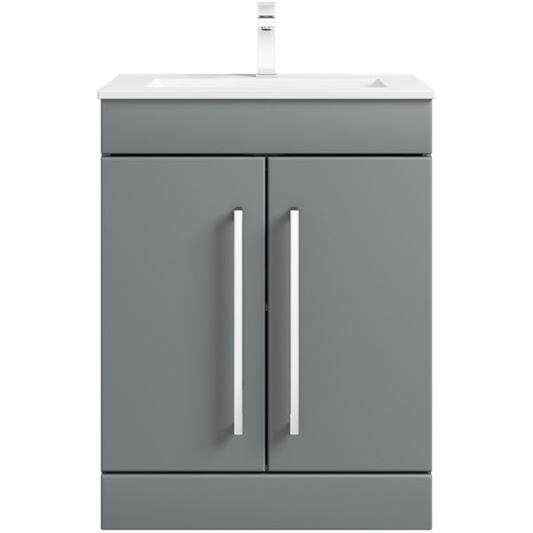 Orchard Derwent grey vanity door unit and basin 600mm