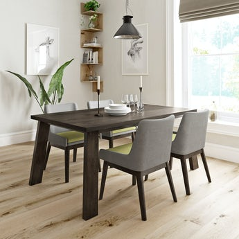Lincoln walnut dining table with 4 x Lincoln grey/green dining chairs