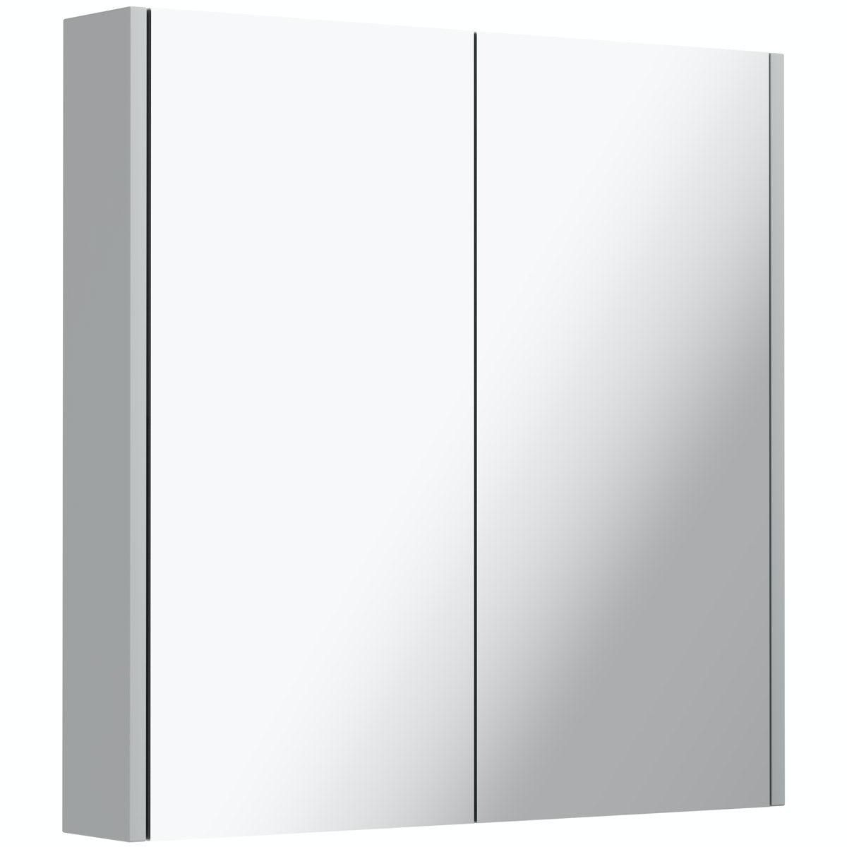 Clarity satin grey mirror cabinet 600mm