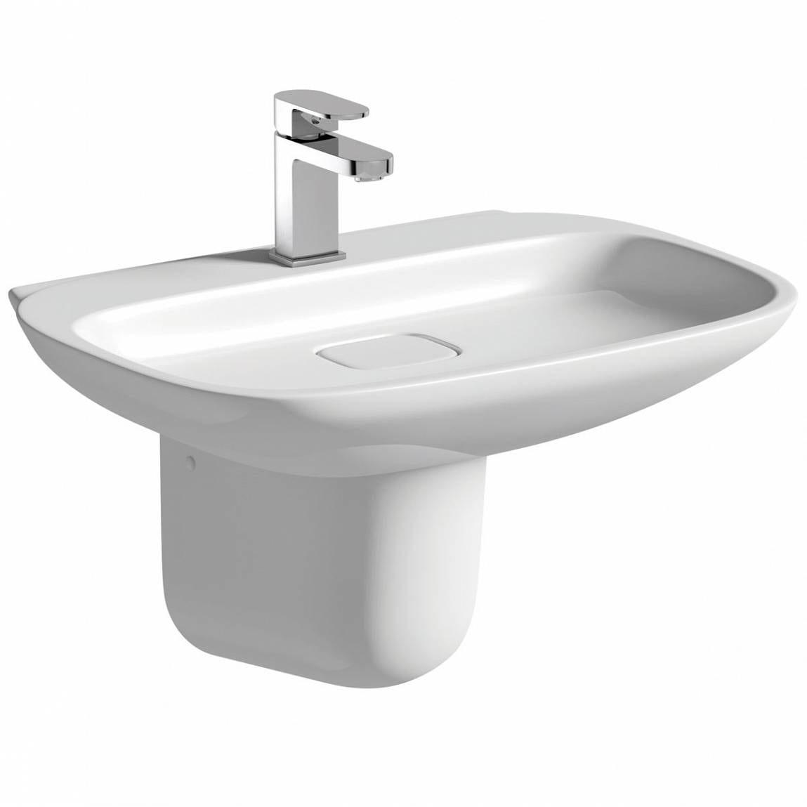 Mode Heath 1 tap hole semi pedestal basin 600mm with waste