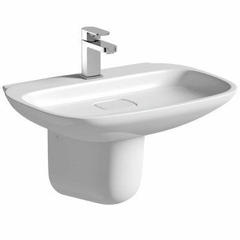 Mode Fairbanks 1 tap hole semi pedestal basin 600mm with waste