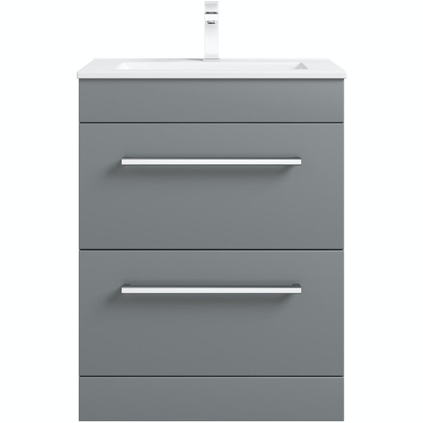 Orchard Derwent grey vanity drawer unit and basin 600mm