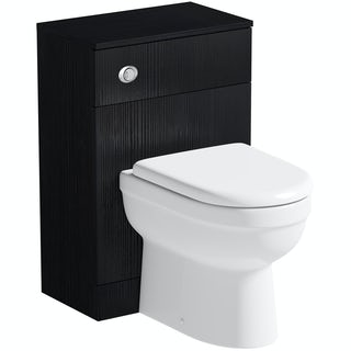 Orchard Wye essen black back to wall toilet unit with contemporary toilet and seat