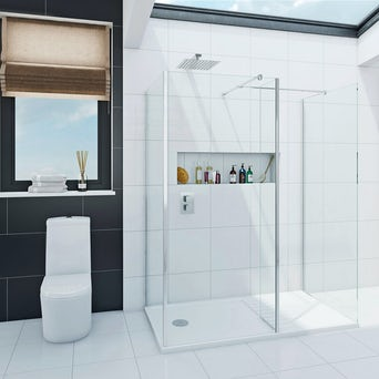 Luxury 8mm Walk in Shower Enclosure Pack with Tray 1600 x 800