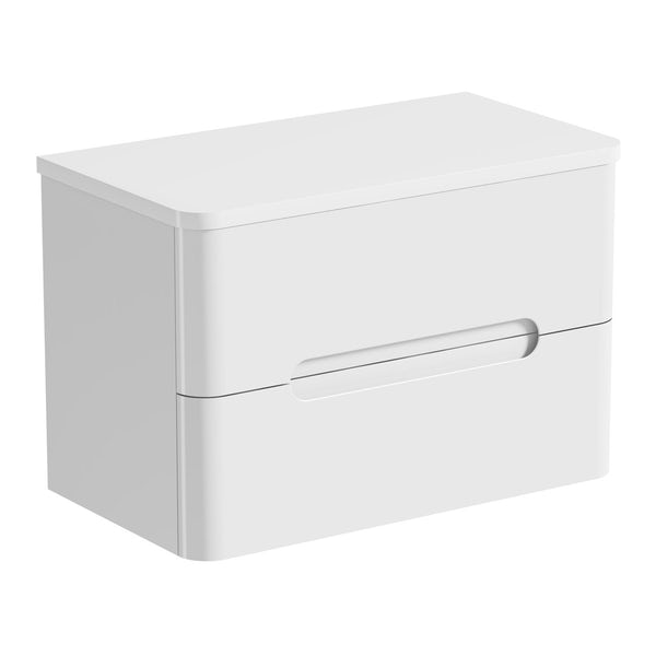 Mode Ellis white wall hung countertop drawer unit 800mm with Bowery basin