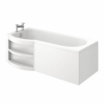Orchard MySpace water saving P shaped shower bath left hand with storage panel