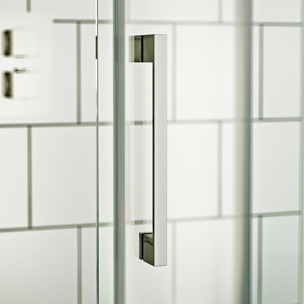 ModeHarrison8mm easy clean quadrant shower enclosure with white slate effect tray 900 x 900