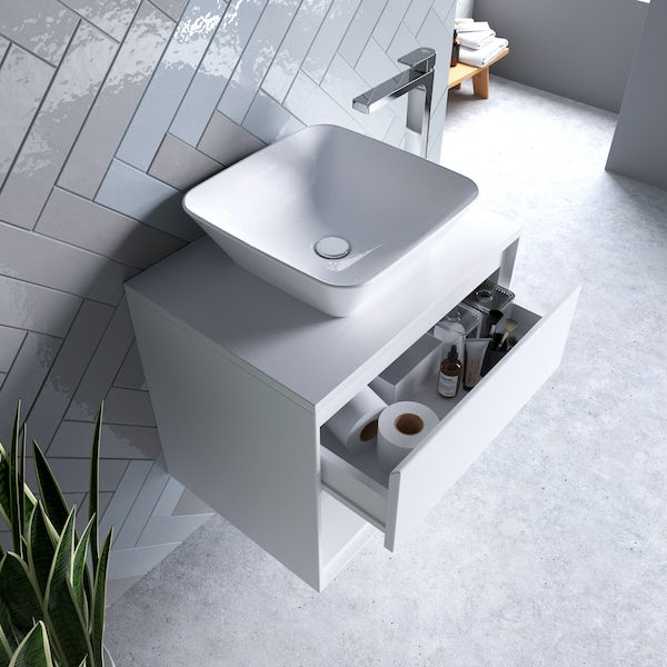 Ideal Standard Concept Air gloss white countertop vanity unit with back to wall toilet