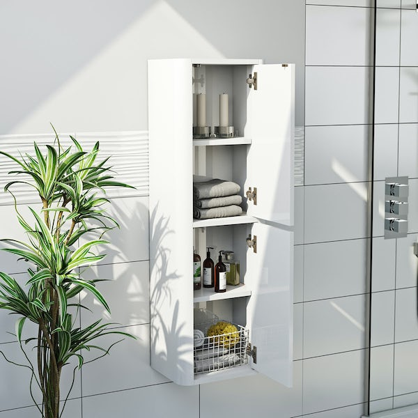 Carter ice white tall wall cabinet