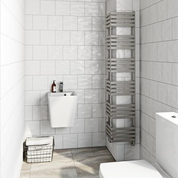 Terma Outcorner chrome effect heated towel rail 1545 x 300