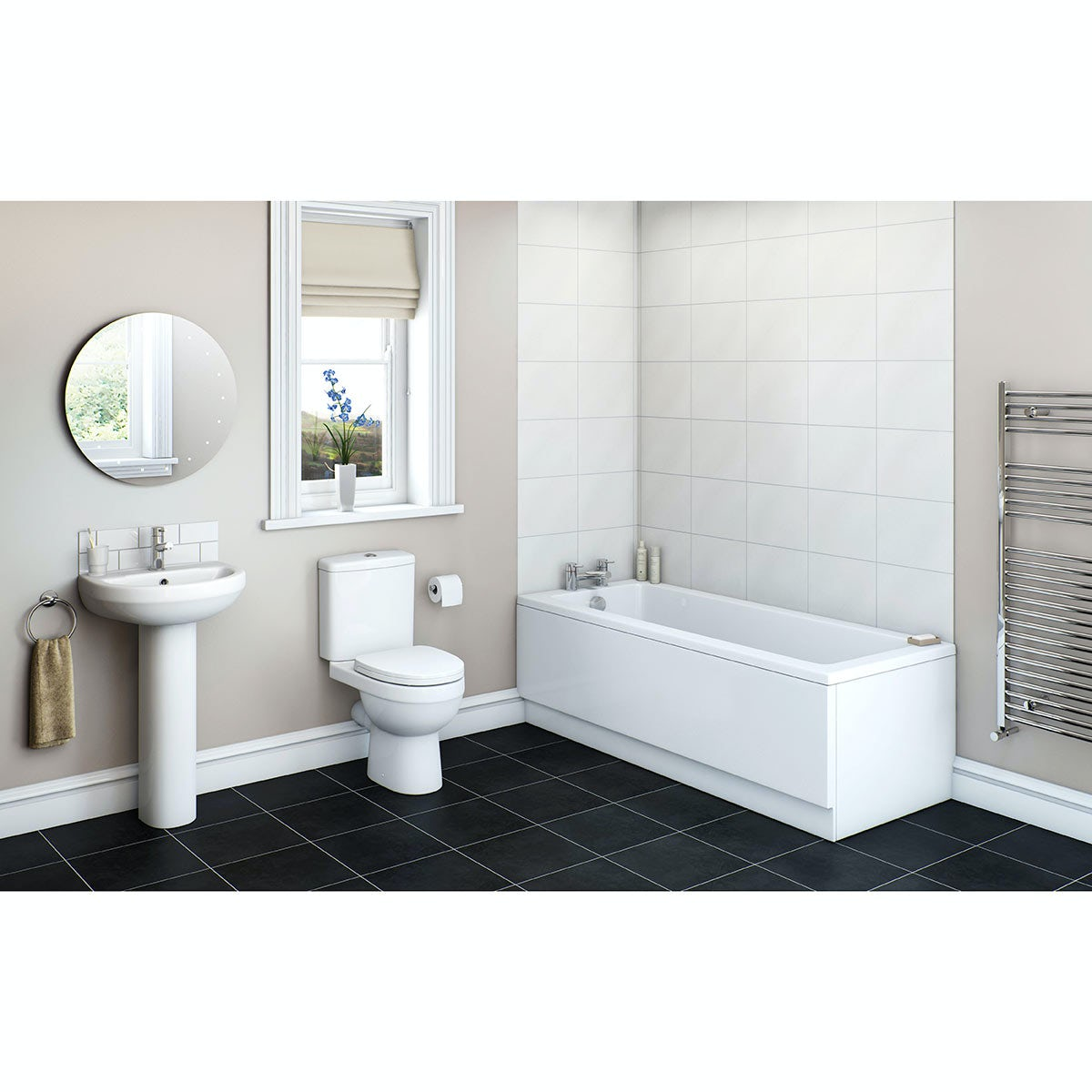 Orchard Eden bathroom suite with straight bath