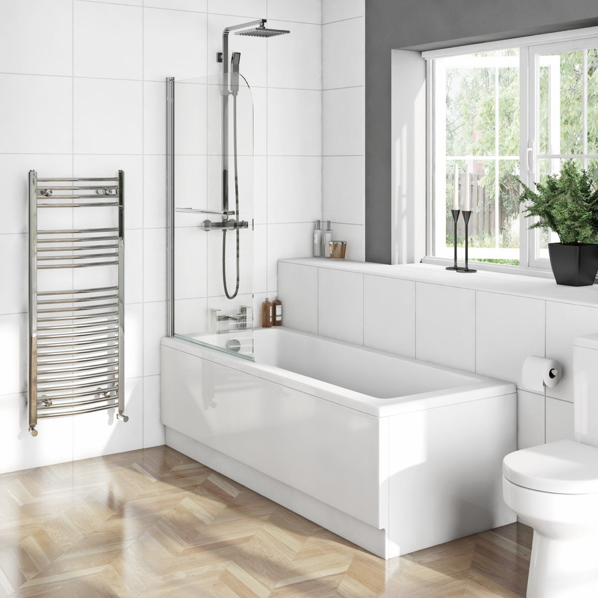orchard square edge straight shower bath with 6mm shower screen eden square edge 1500 x 700 shower bath with curved single screen and rail