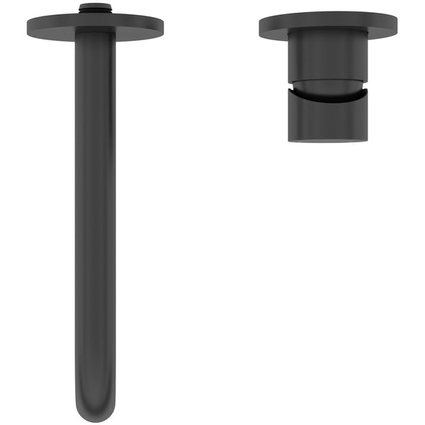Mode Spencer round wall mounted black bath mixer tap offer pack
