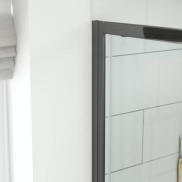 Mode black 6mm sliding shower door with black slate effect tray 1200 x 800