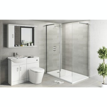 Eden white suite with 8mm frameless walk in shower enclosure and tray