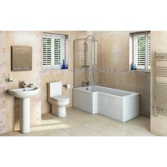 Oakley Bathroom Suite with left handed L shaped shower bath 1700 x 850