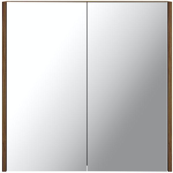 Clarity walnut 2 door bathroom mirror cabinet