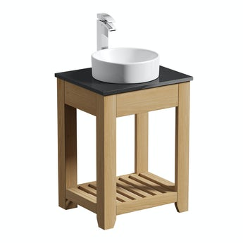 The Bath Co. Hoxton oak washstand 600mm with black marble top and Calhoun basin