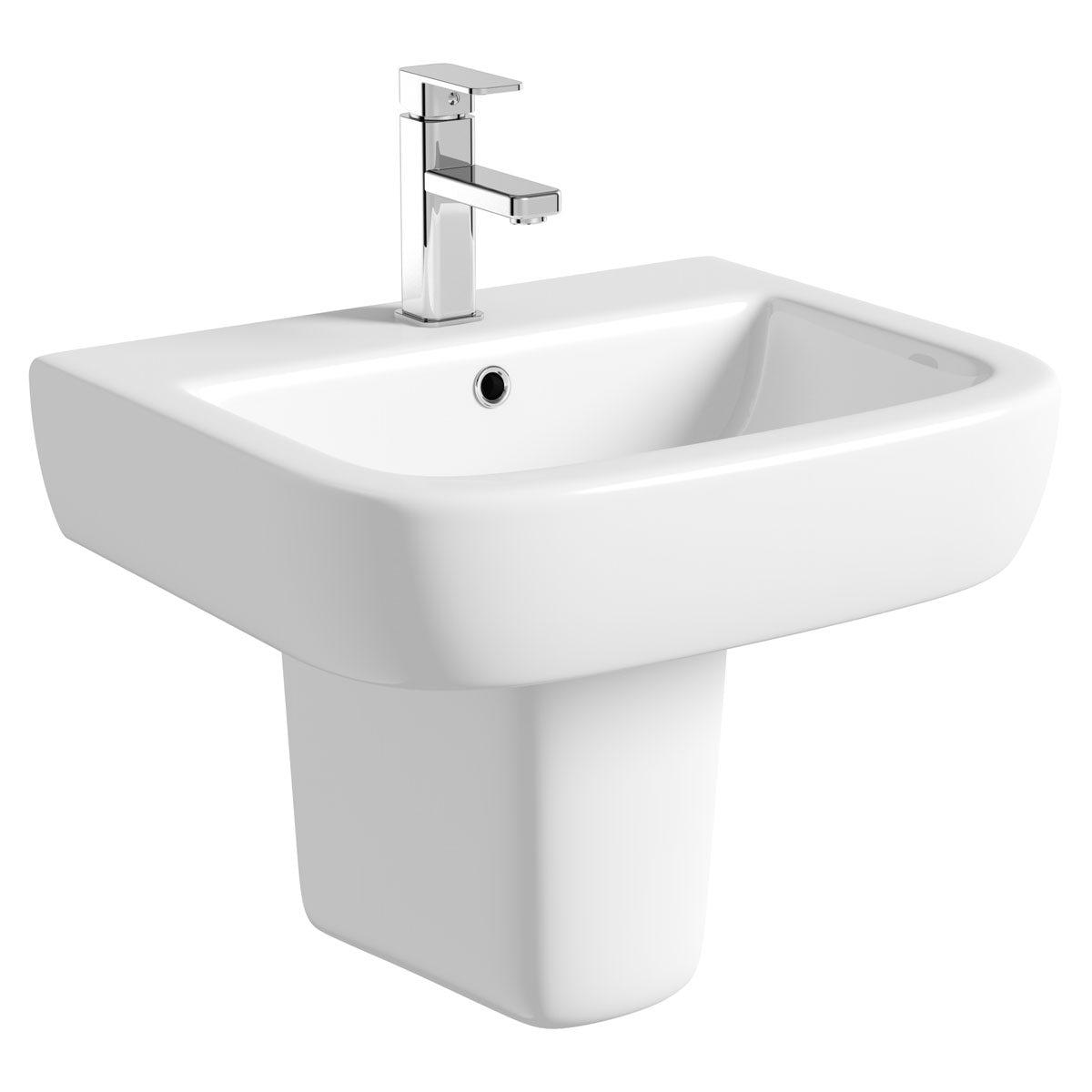 Mode Ellis semi pedestal basin 560mm with waste