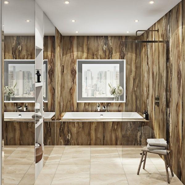Multipanel Linda Barker Dolce Macchiato unlipped shower wall panel 2400 x 1200