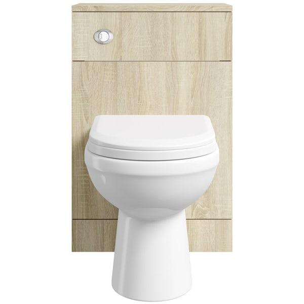 Eden oak slimline back to wall toilet unit