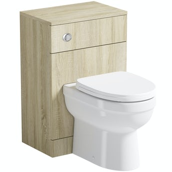 Eden oak back to wall unit and toilet with seat