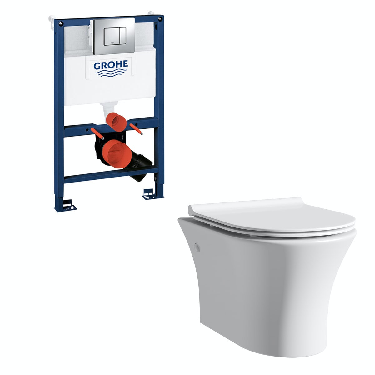 Mode Hardy rimless wall hung toilet, Grohe frame and Skate Cosmopolitan push plate with slim seat 0.82m