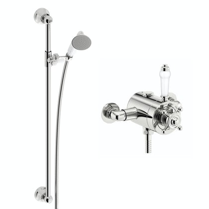 Dulwich thermostatic shower valve with slider rail kit