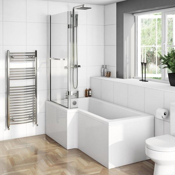 Boston Shower Bath 1700 x 850 LH inc. 8mm Hinged Screen with Towel Rail
