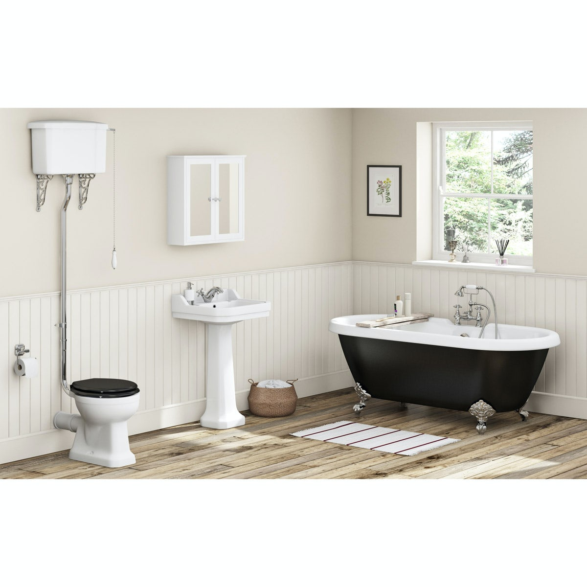 Camberley black high level bathroom suite with freestanding bath